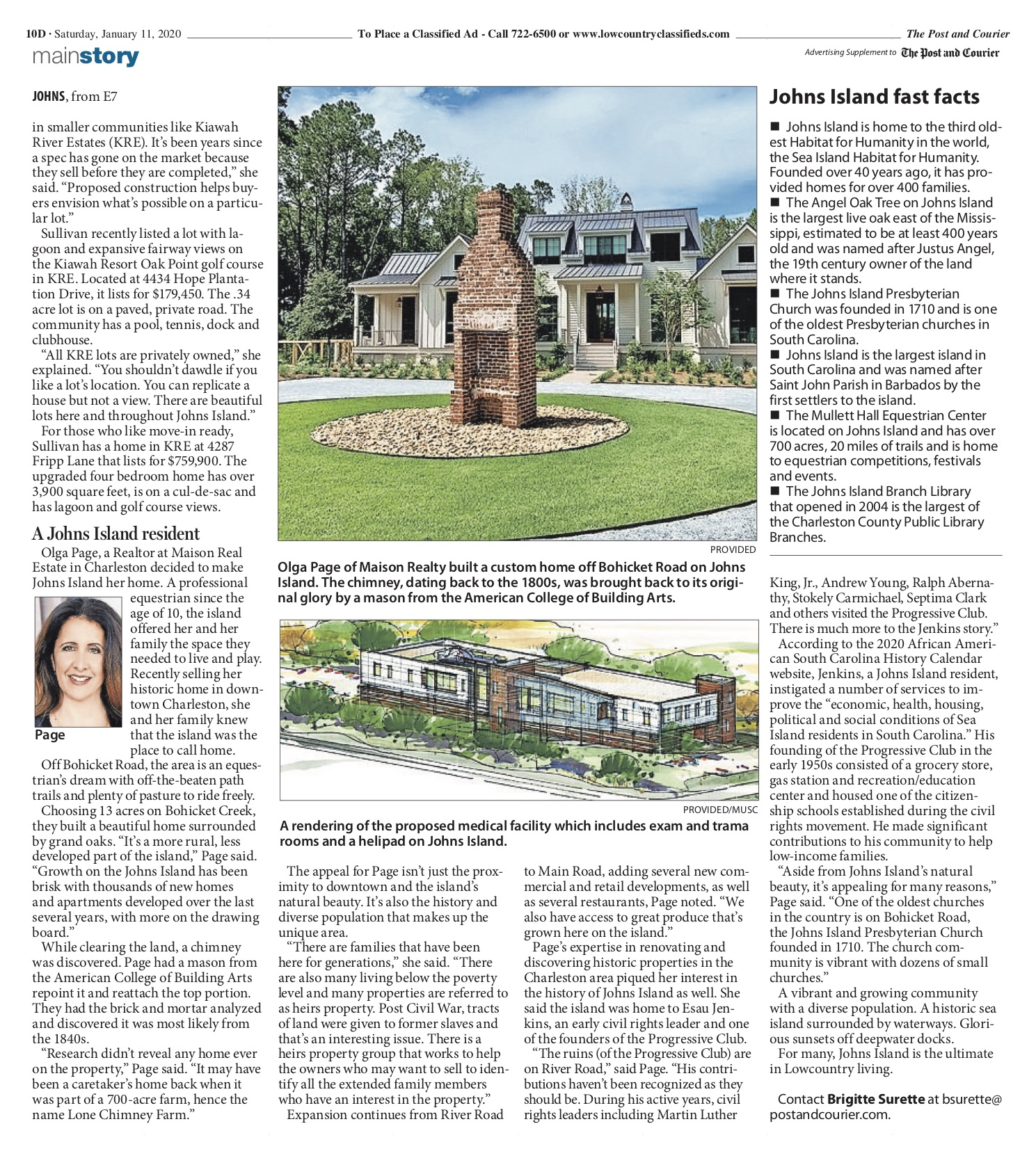 Olga Page featured in article on Johns Island in Post and Courier