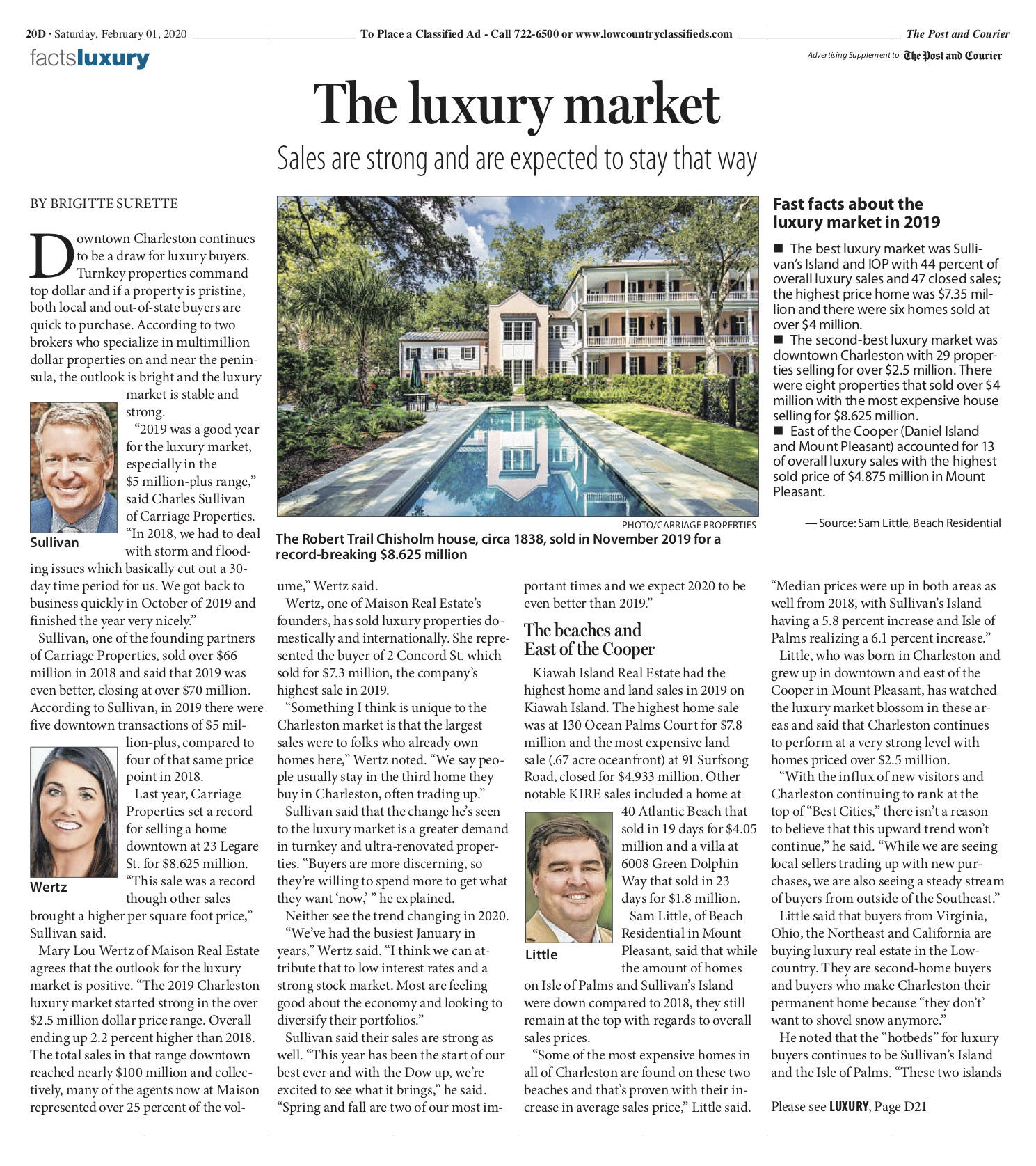 February 2020 Post and Courier - Luxury Property Market in Charleston
