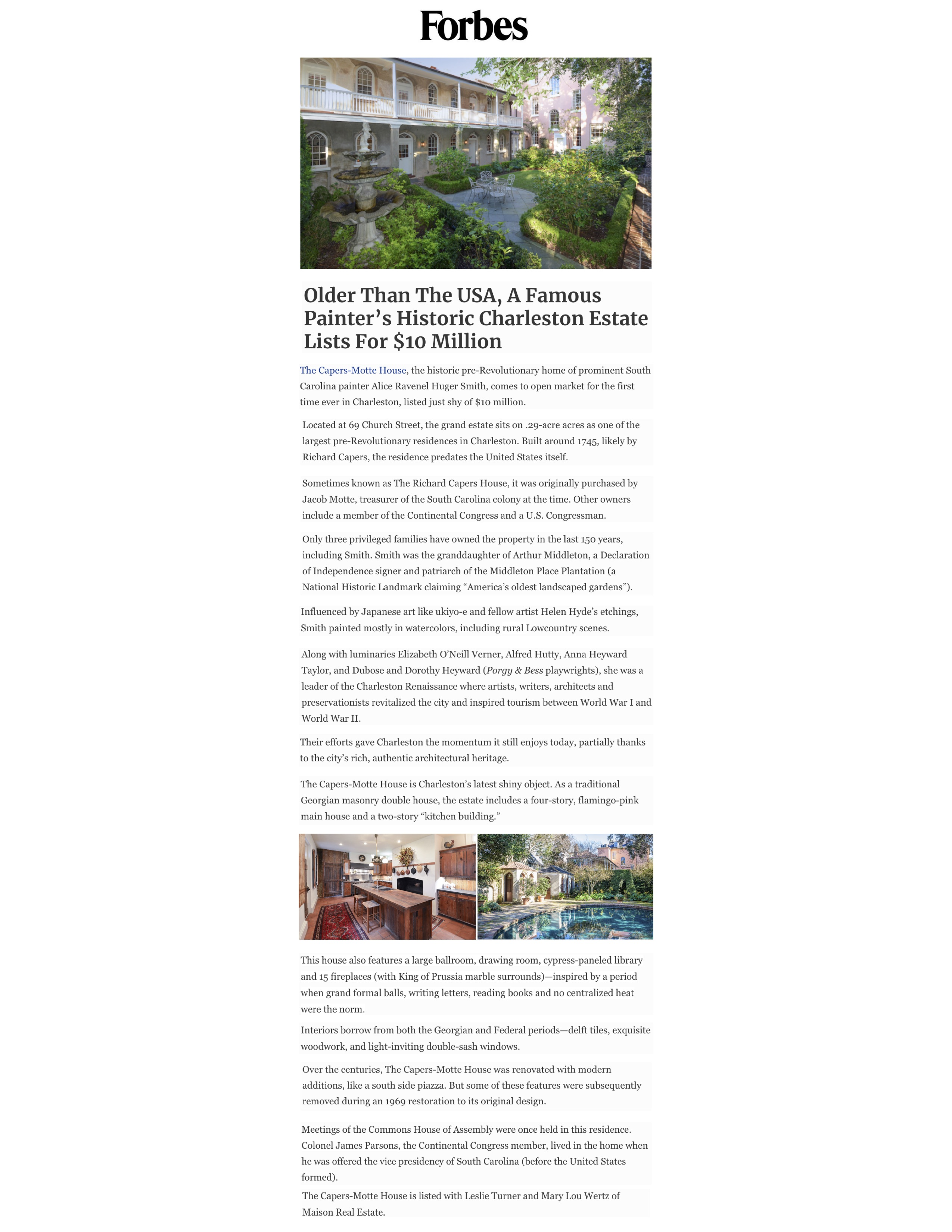 Forbes Magazine covers our listing at 69 Church Street