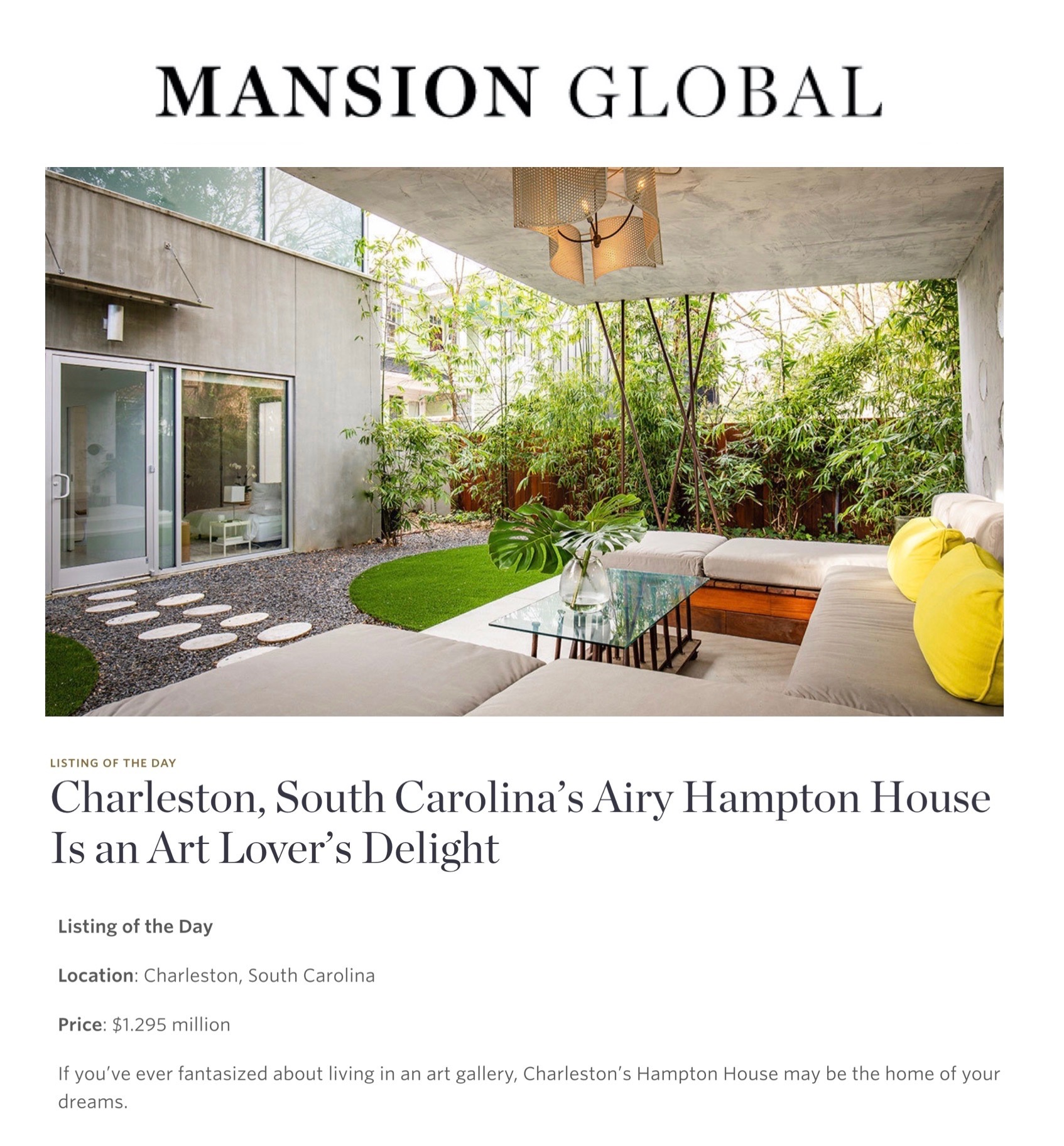 116 Grove Street recognized by Mansion Global
