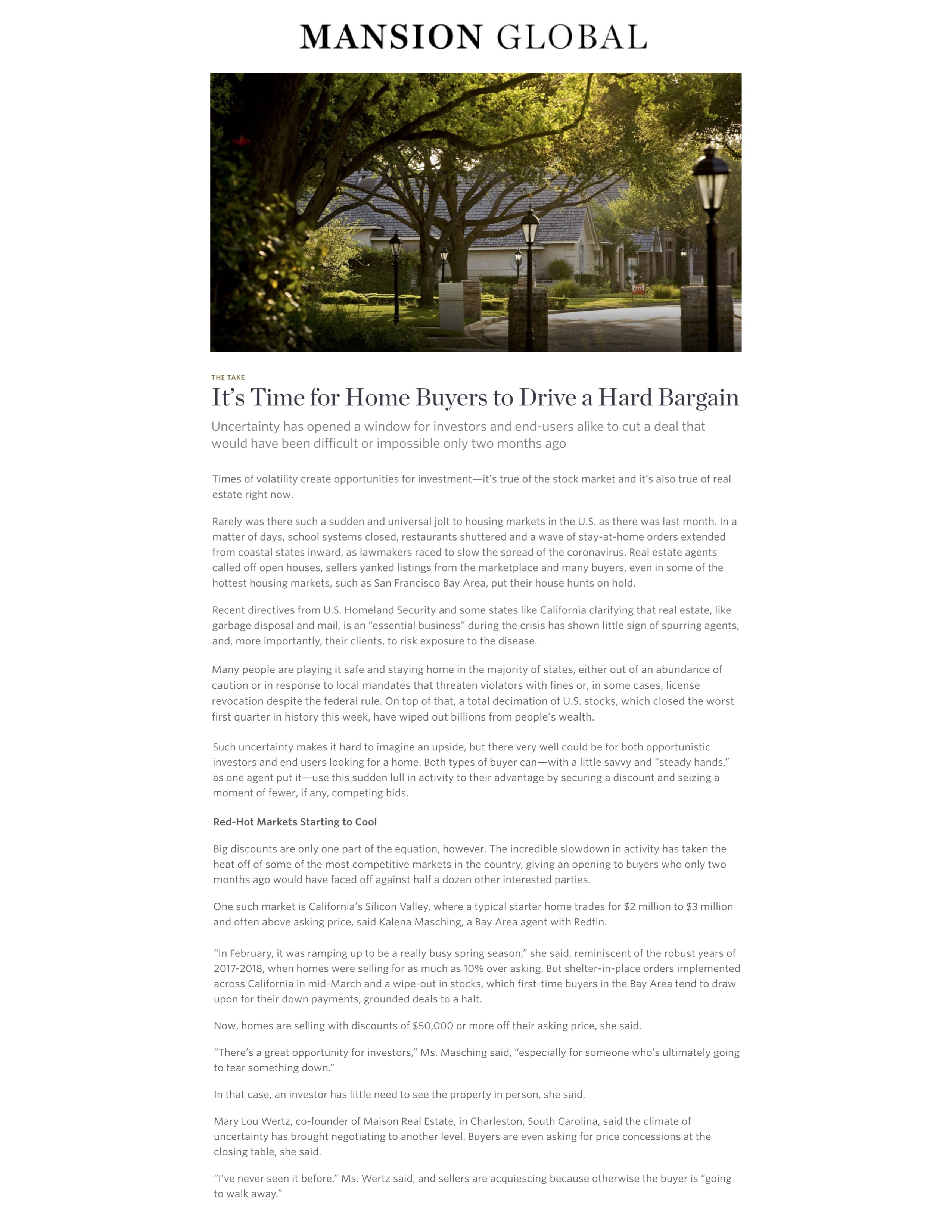 Mansion Global interviews Mary Lou Wertz for article on Covid19 Real Estate response