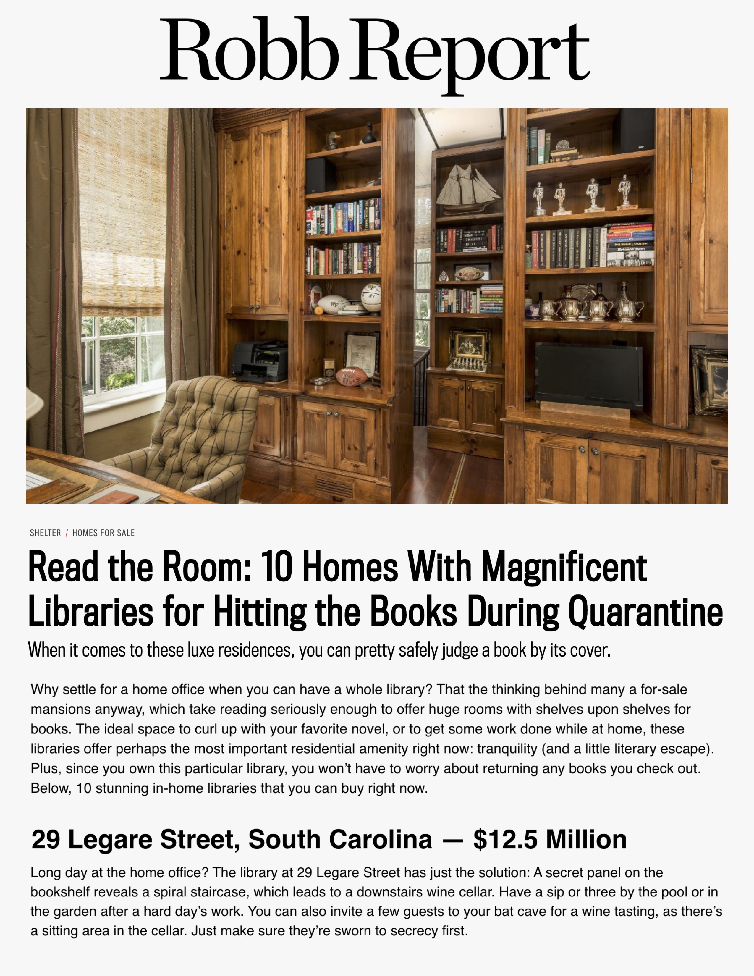 Robb Report highlights 29 Legare Street home in article