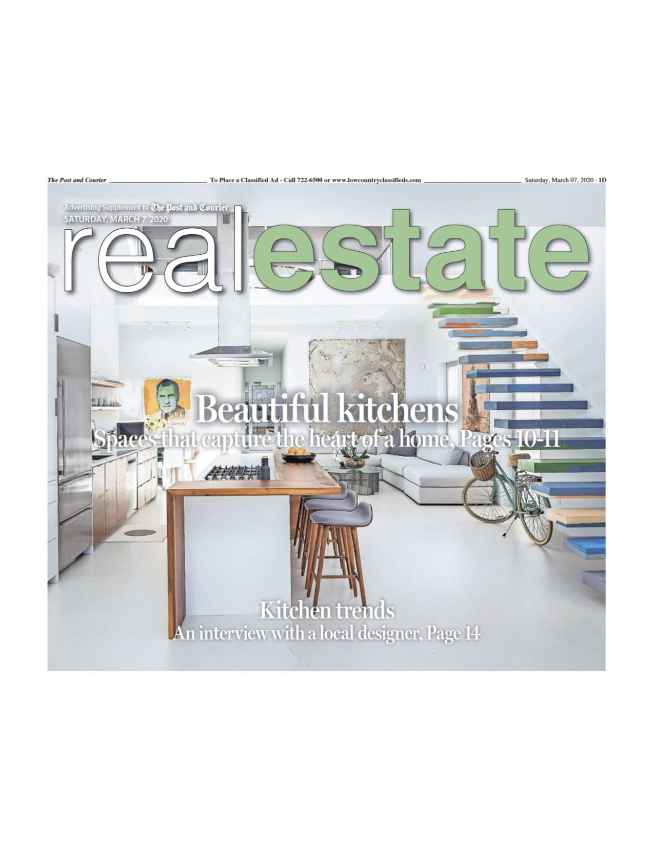 Post and Courier includes 116 Grove Street on the cover for Beautiful Kitchens piece