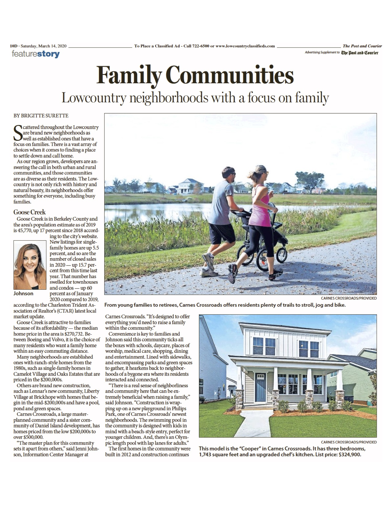 Post and Courier article interviews Mary Lou Wertz about family communities in the area.