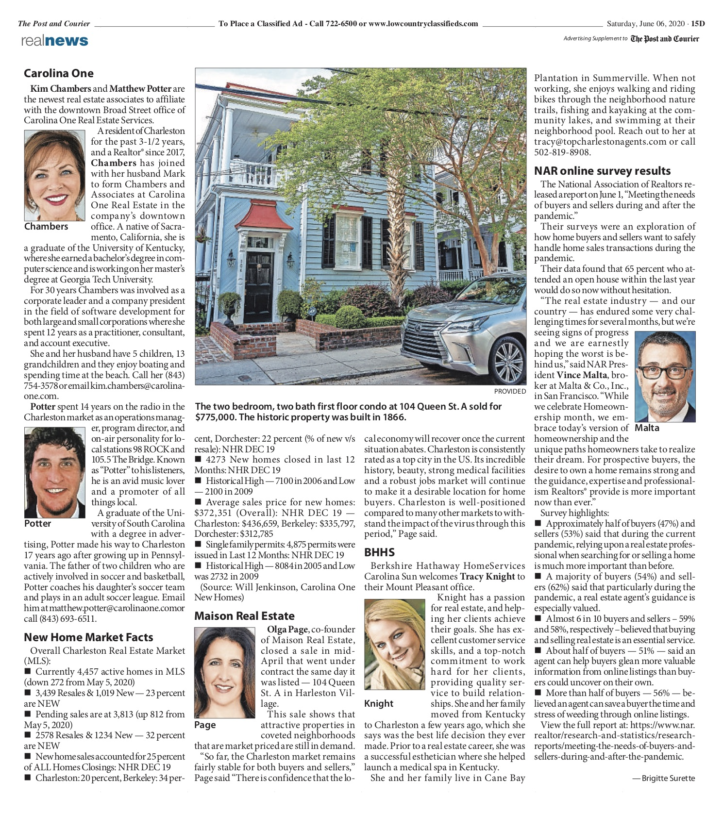 Post and Courier's Real Estate News highlights Olga Page