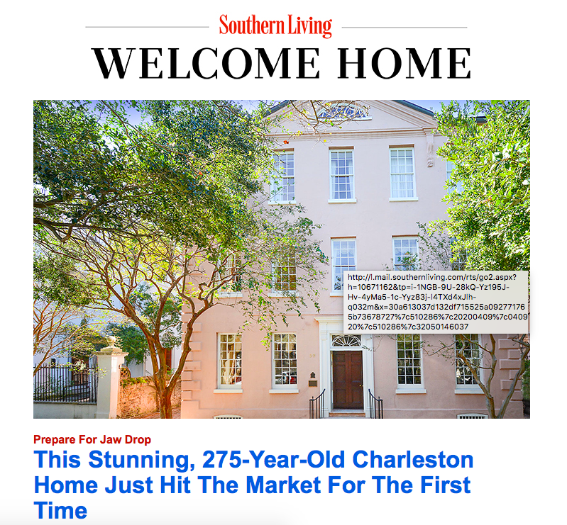 Southern Living Features 69 Church Street as Lead Story in Newsletter
